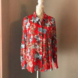 🇨🇦H&M Floral Long-Sleeve Blouse NWT